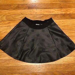 Girls' Faux Leather Polka Dot Skirt